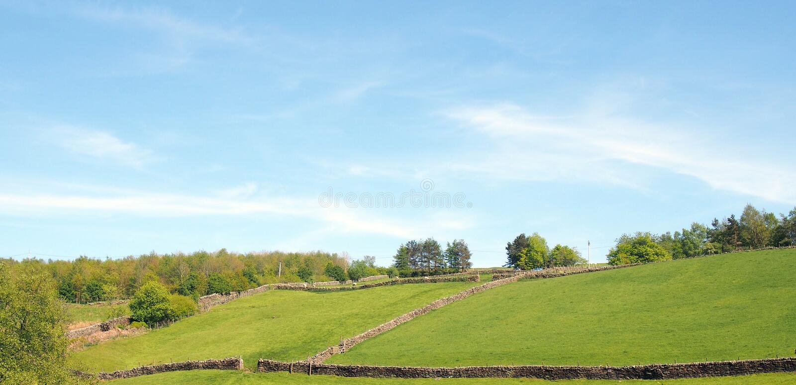 panoramic view of sunlit summer countryside with green rolling hilly meadows surrounded by stone walls and forest trees above royalty free stock images