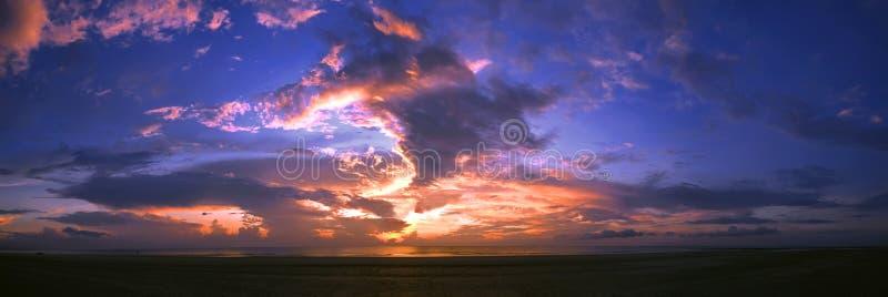 Panoramic view of sunrise stock photo