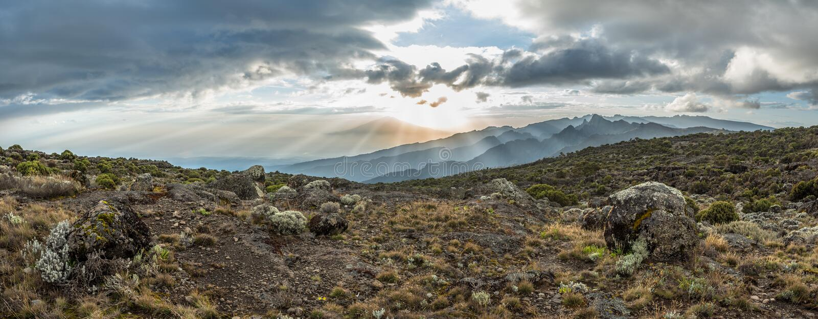 Panoramic view of sunset over Mount Meru in Tanzania taken from the Shira Cave camp on the Machame route of Kilimanjaro. Sunrays burst through the dramatic royalty free stock image