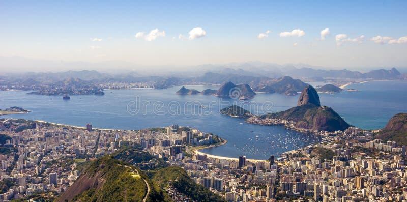 Panoramic view of sunset in Rio de Janeiro royalty free stock image