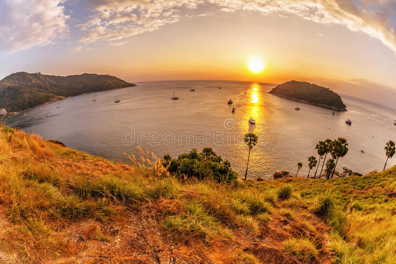 Panoramic view on sunset sea stock images
