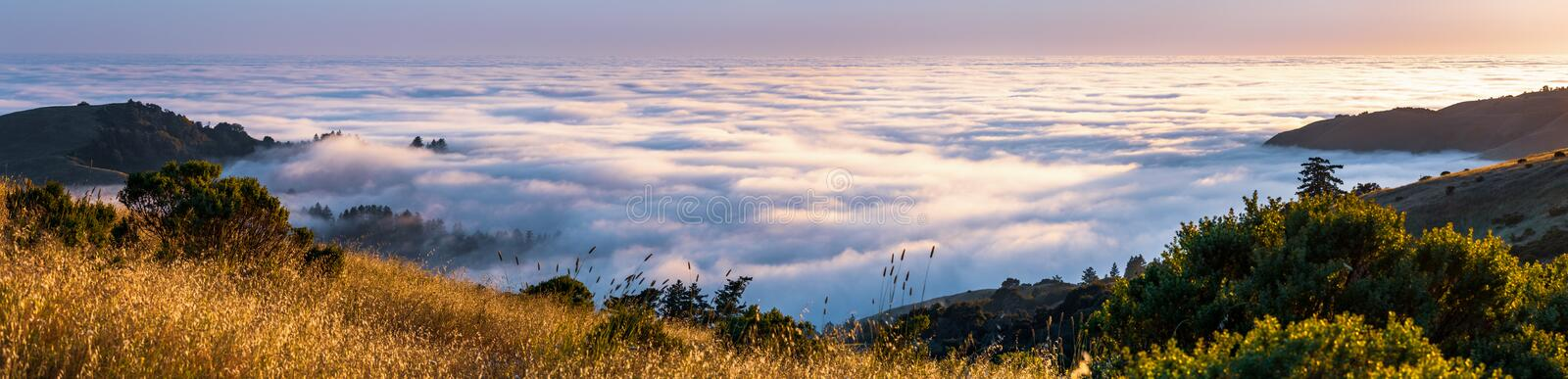 Panoramic view at sunset of valley covered in a sea of clouds in the Santa Cruz mountains, San Francisco bay area, California stock image