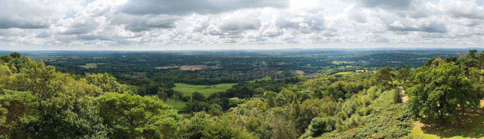 Panoramic view of the Surrey and Sussex countryside from the North Downs to the South Downs in England, UK stock photos