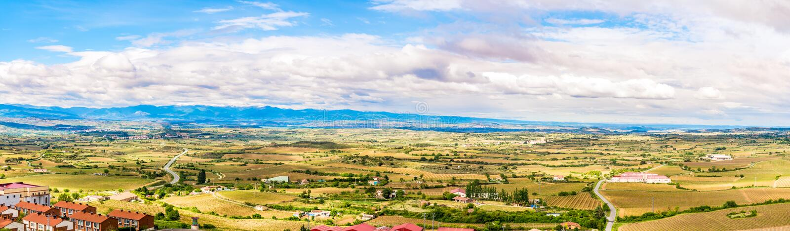 Panoramic view at the surroundings of the town Laguardia in Spain stock images