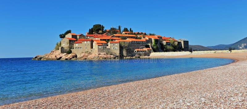Panoramic view of Sveti Stefan resort. Montenegro royalty free stock photos