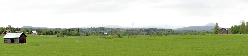 Panoramic view of Swedish landscape stock image