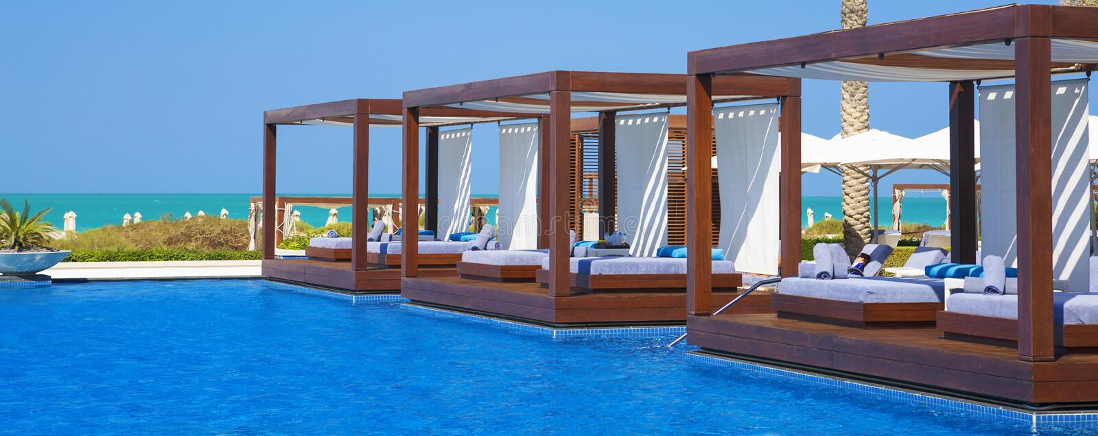 Panoramic view of swimming pool stock images