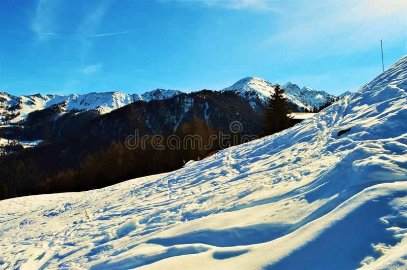 Panoramic view of Swiss Alps and snow stock photos