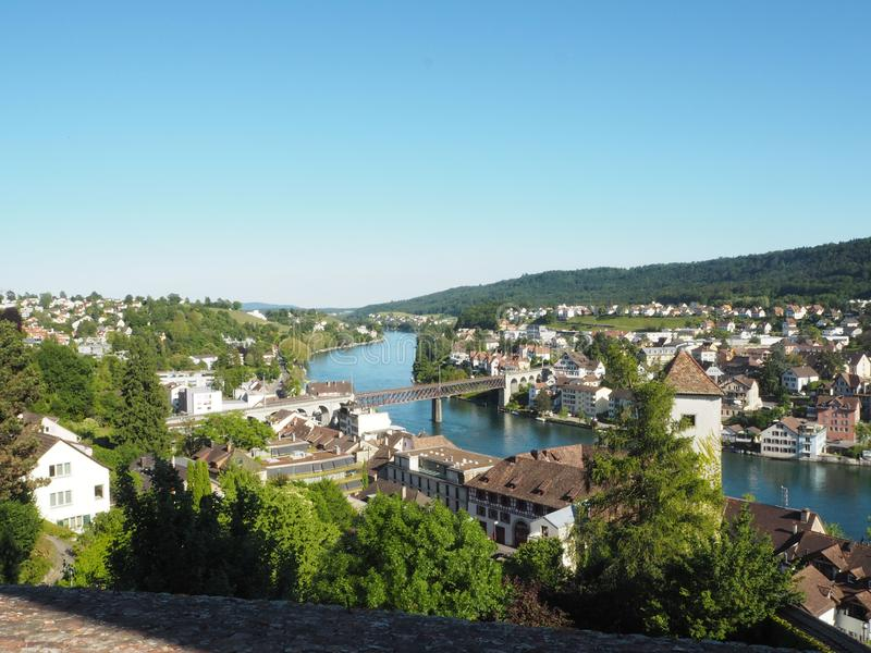 Panoramic view of Swiss town Schaffhausen. River Rhine. Tilt shift switzerland munot old fortress europe summer sky natural travel landscape architecture house stock images