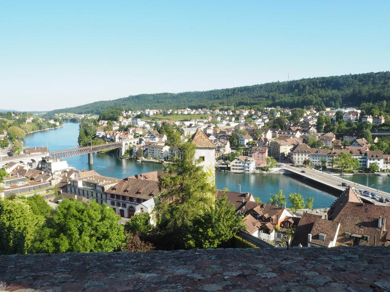 Panoramic view of Swiss town Schaffhausen. River Rhine. Tilt shift switzerland munot old fortress europe summer sky natural travel landscape architecture house royalty free stock photos