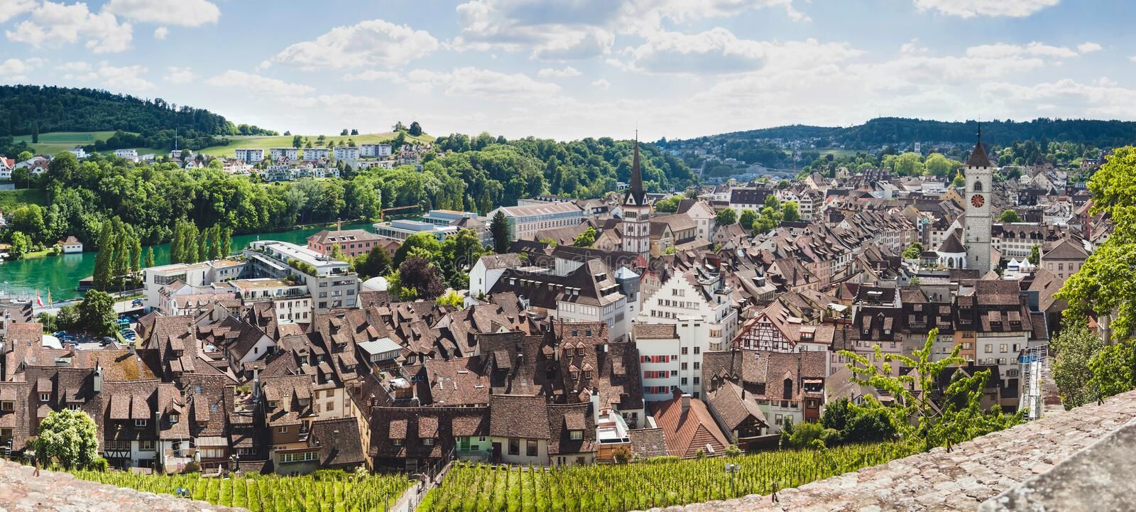 Panoramic view of Swiss town Schaffhausen. River Rhine. Europe royalty free stock image