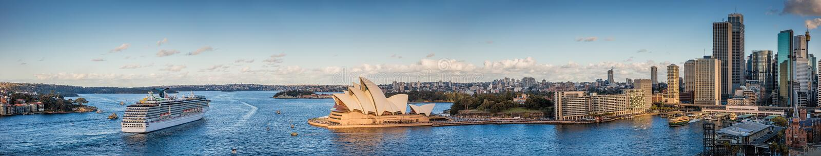 Panoramic view of Sydney Harbour and city skyline, Sydney NSW, A stock photo