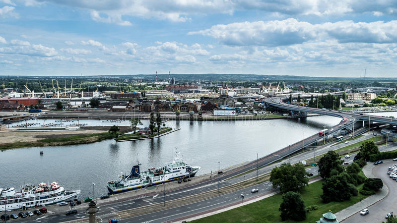 Panoramic view of Szczecin waterfront. POLAND, SZCZECIN - 30 JUNE 2014: Panoramic view of Szczecin waterfront stock images