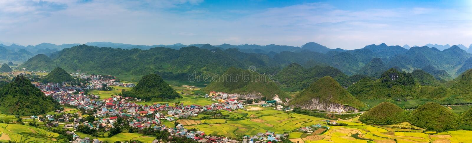 Panoramic view of Tam Son town and the Fairy Twin Mountains in Quan Ba District, Ha Giang Province, Northern Vietnam royalty free stock photography