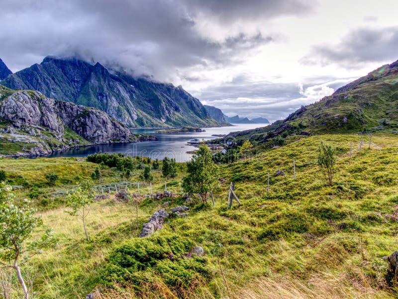 Panoramic view of Tangstad fjord in Lofoten Islands stock photos