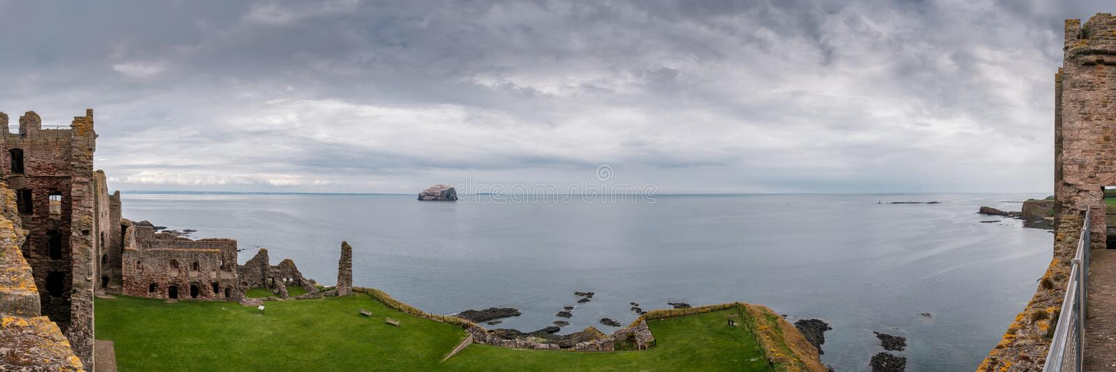 Panoramic view from Tantallon Castle and Bass Rock in Scotland royalty free stock photo