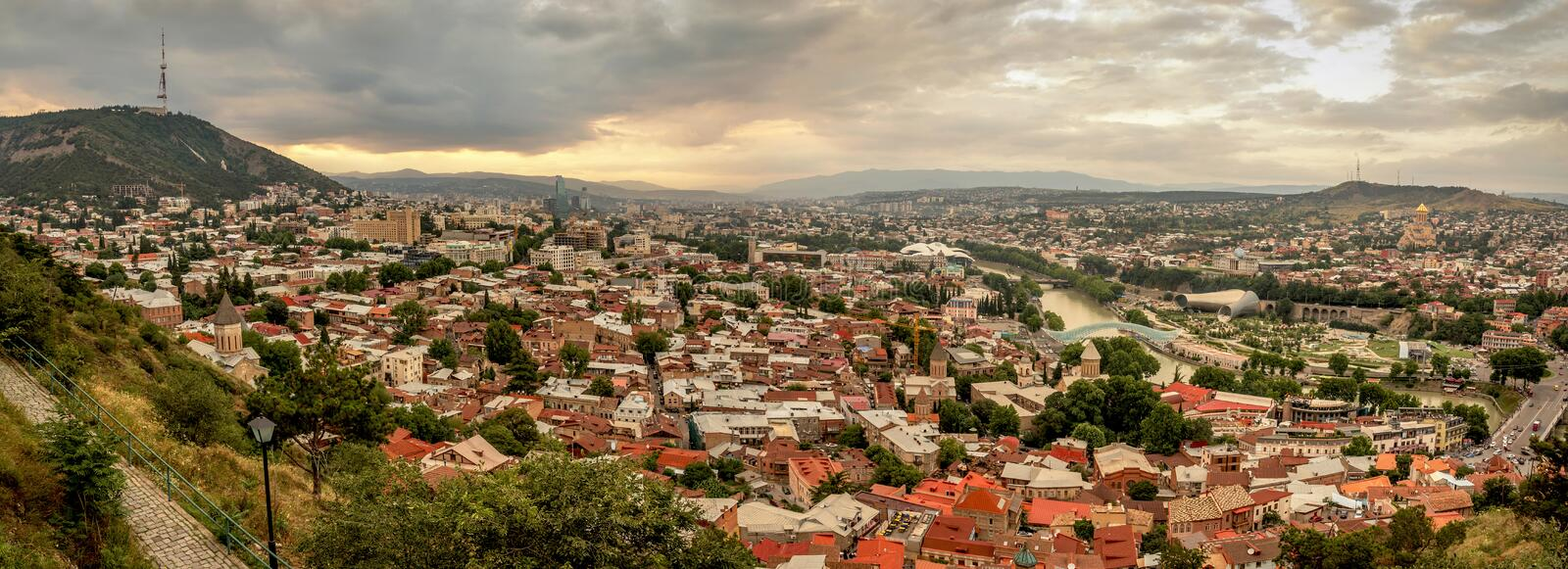 Panoramic view of Tbilisi, the capital of Georgia with old town royalty free stock photos