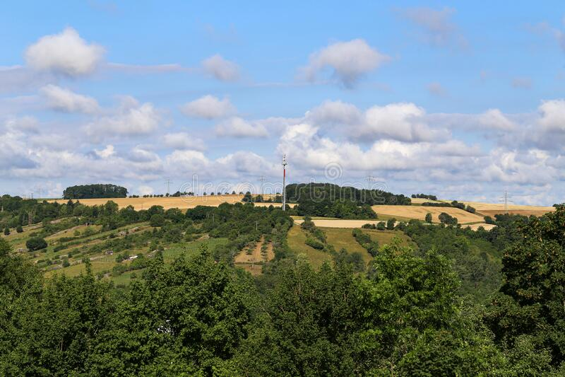 Panoramic view with a television mast in the middle stock images