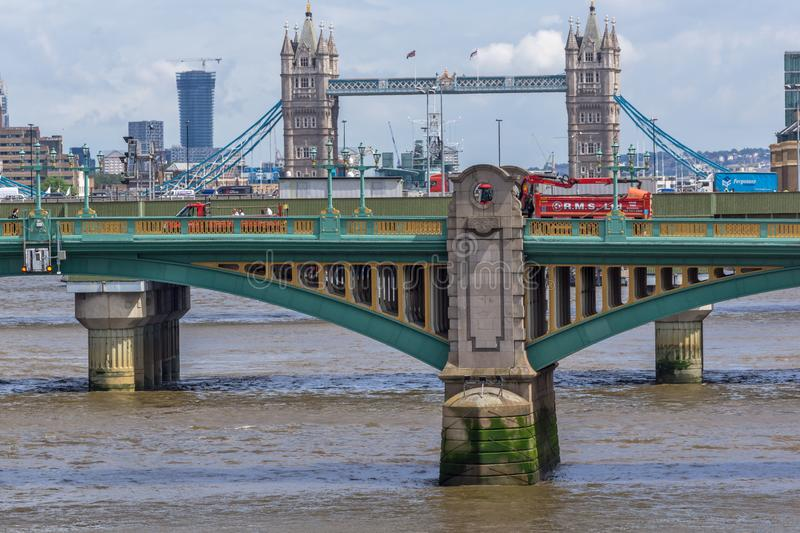 Panoramic view of Thames River and Tower Bridge in City of London, England, Great Britain stock image