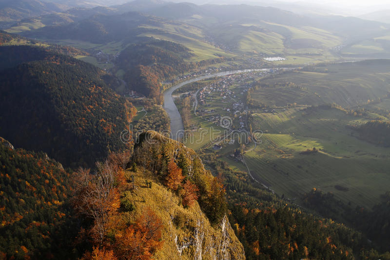 Panoramic view from Three Crowns peak in Pieniny Mountains, Poland. Panoramic view from Three Crowns peak in Pieniny Mountains, Szczawnica, Poland royalty free stock photo