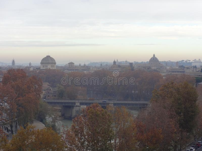 Panoramic view of Tiber´s river in Rome stock photography