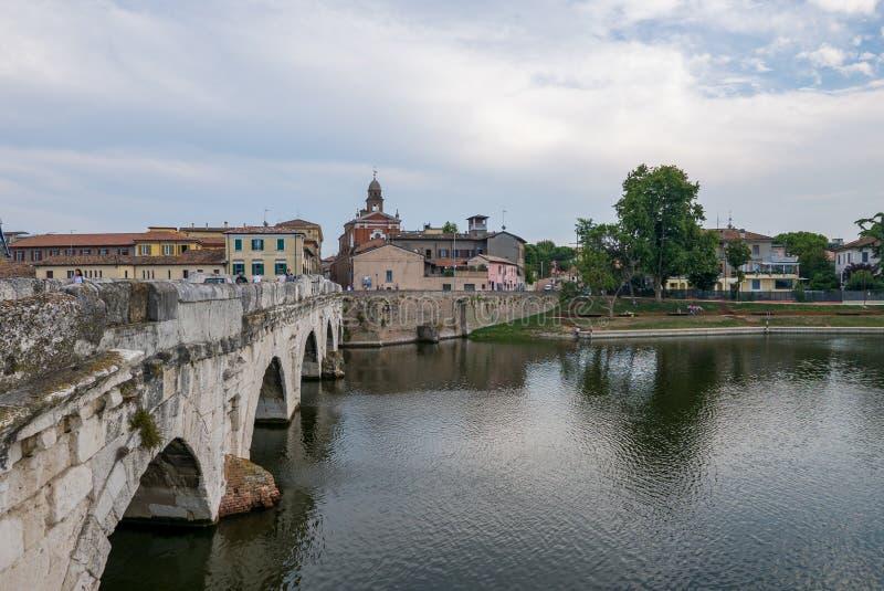 Panoramic view of the Tiberius Bridge Tiberius Bridge in Rimini royalty free stock photo