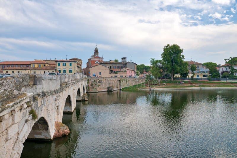 Panoramic view of the Tiberius Bridge Tiberius Bridge in Rimini royalty free stock images