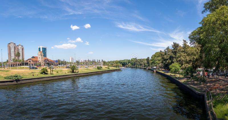 Panoramic view of Tigre River and Tigre Train Station - Tigre, Buenos Aires, Argentina. Panoramic view of Tigre River and Tigre Train Station in Tigre, Buenos stock images