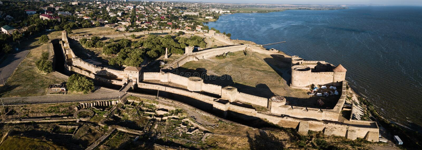 Panoramic view to Akkerman fortress which is on the bank of the Dniester estuary, in Odessa region. Aerial view on citadel of ancient fortress Akkerman which is stock images