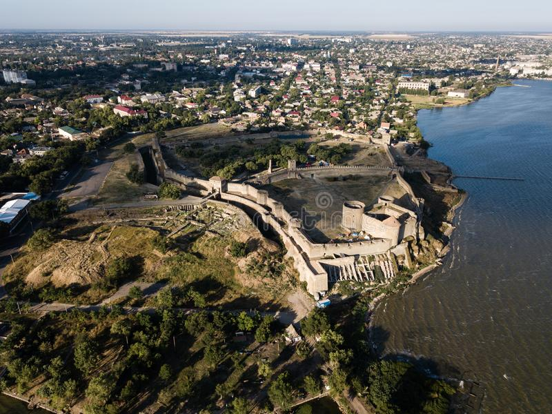 Panoramic view to Akkerman fortress which is on the bank of the Dniester estuary, in Odessa region. Aerial view on citadel of ancient fortress Akkerman which is royalty free stock photos