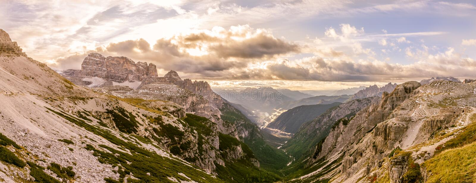 Panoramic view to Auronzo Valley in Dolomites stock photography