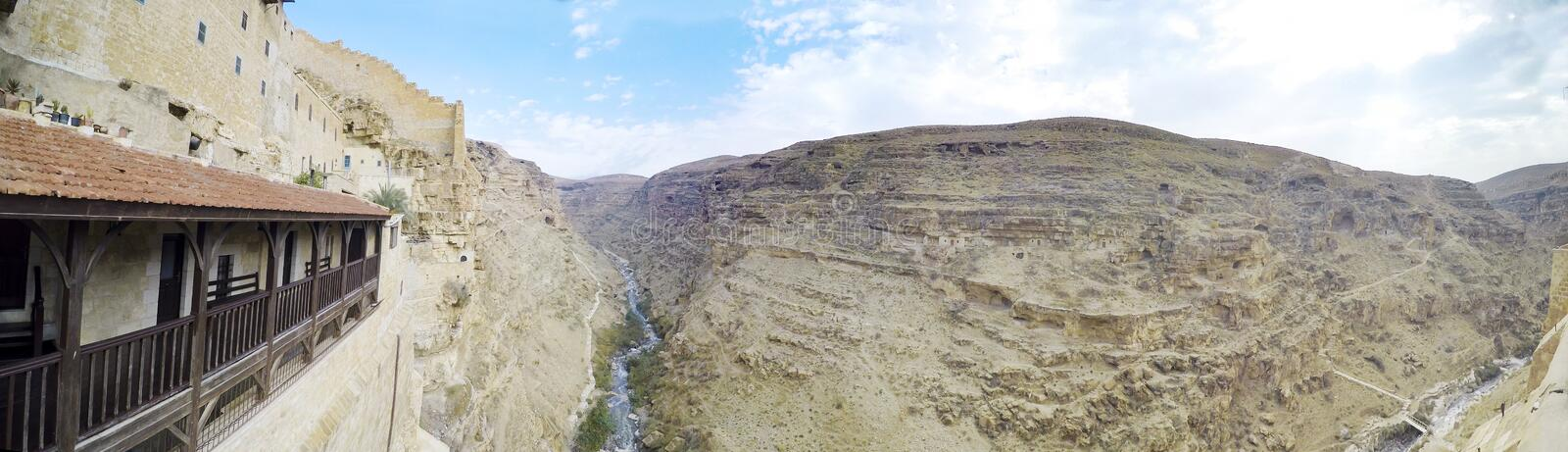 Panoramic view to canyon from Greek Orthodox monastery Great Lavra stock images