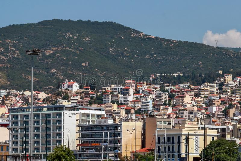 Panoramic view to center of city of Kavala, Greece royalty free stock images