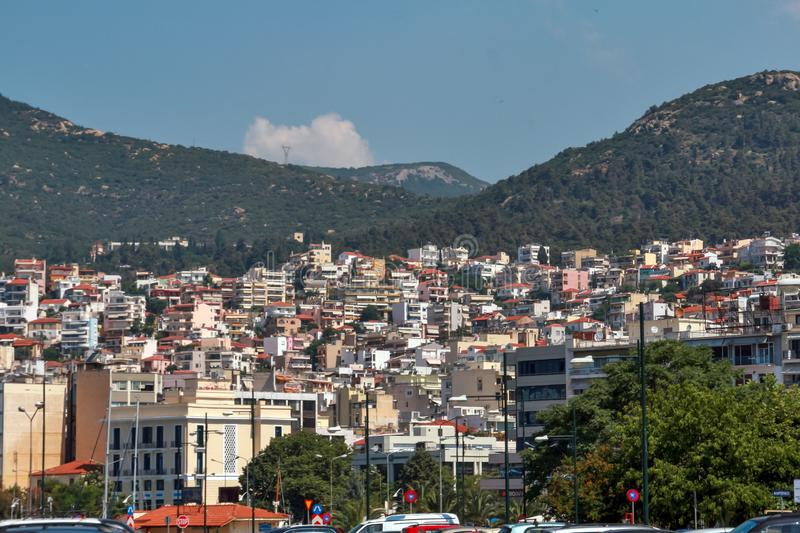 Panoramic view to center of city of Kavala, Greece. KAVALA, GREECE - JUNE 17, 2011: Panoramic view to center of city of Kavala, East Macedonia and Thrace, Greece royalty free stock photo