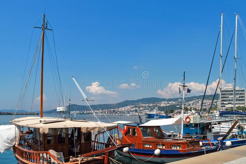 Panoramic view to center of city of Kavala, Greece. KAVALA, GREECE - JUNE 17, 2011: Panoramic view to center of city of Kavala, East Macedonia and Thrace, Greece royalty free stock photos