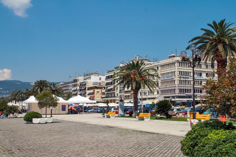 Panoramic view to center of city of Kavala, Greece. KAVALA, GREECE - JUNE 17, 2011: Panoramic view to center of city of Kavala, East Macedonia and Thrace, Greece royalty free stock images