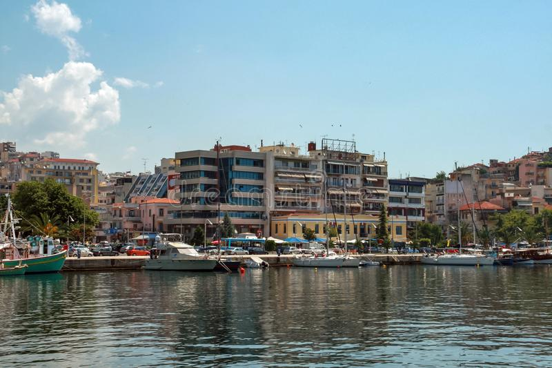Panoramic view to center of city of Kavala, Greece. KAVALA, GREECE - JUNE 17, 2011: Panoramic view to center of city of Kavala, East Macedonia and Thrace, Greece royalty free stock photography