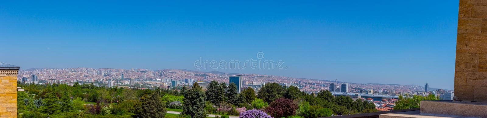 Panoramic view to the city of Ankara from the Memorial tomb royalty free stock photography