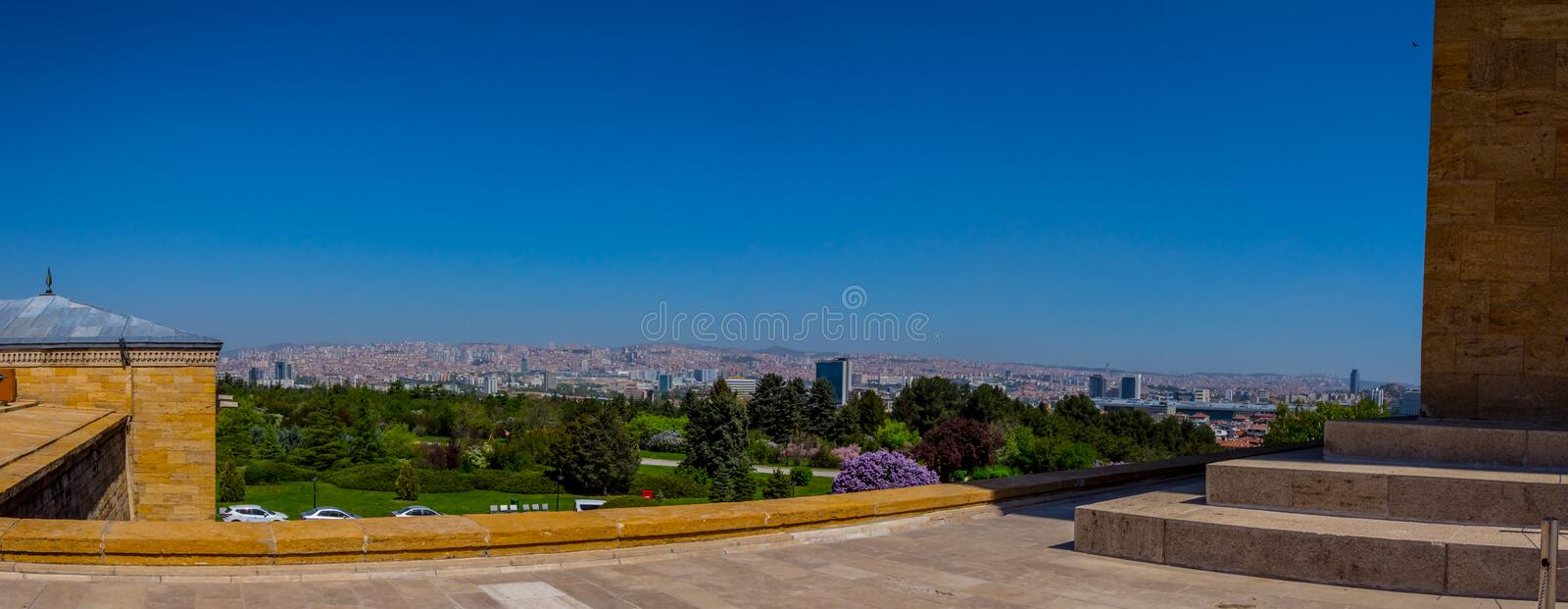Panoramic view to the city of Ankara from the Memorial tomb stock image