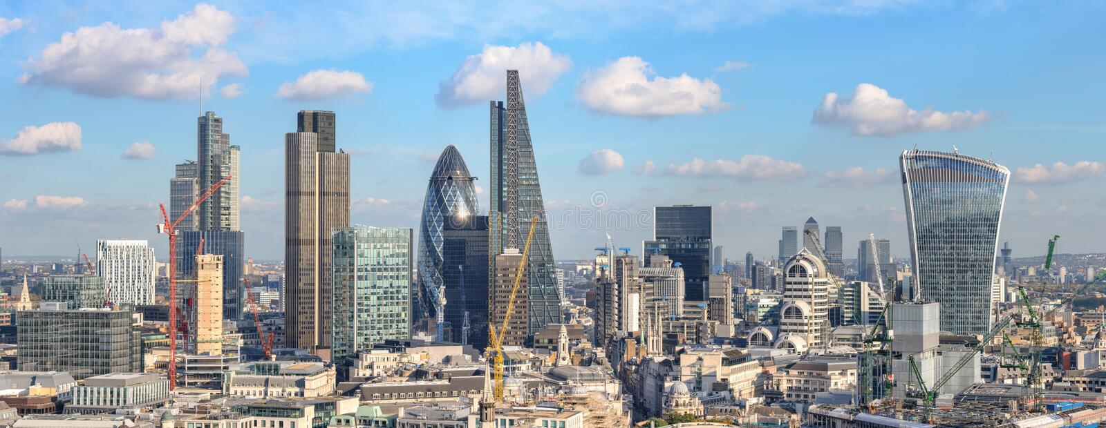 Panoramic view to City of London from St Paul cathedral royalty free stock photography