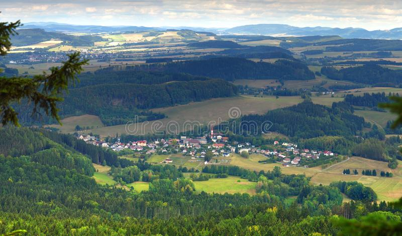 Panoramic view to the city of Machov in the Czech Republic. Panoramic view from the Polish-Czech border to the city of Machov in the Czech Republic. High royalty free stock photography