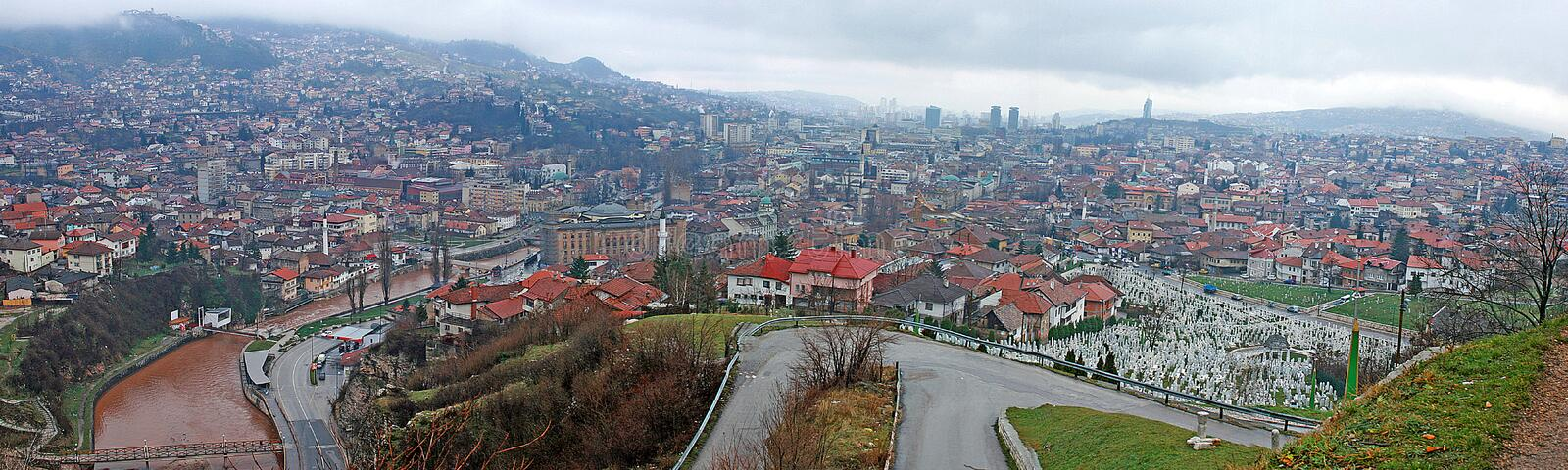 Panoramic view to the city of Sarajevo stock photography