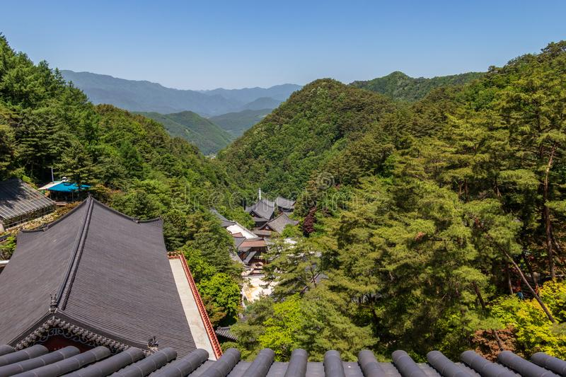 Panoramic view to Korean Buddhist Temple Complex Guinsa with valley and mountains. Guinsa, Danyang Region, South Korea, Asia royalty free stock photos