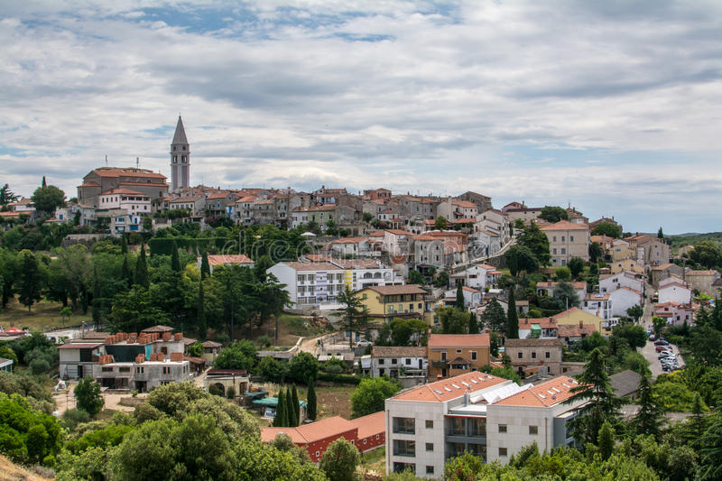 Panoramic view to old croatian town Vrsar. stock photo