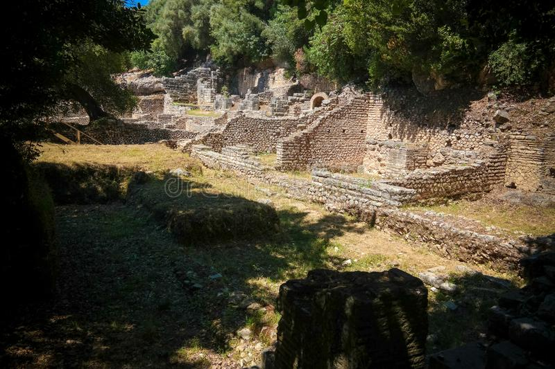 Panoramic view to ruins of ancient town of Butrint , Sarande, Albania royalty free stock images