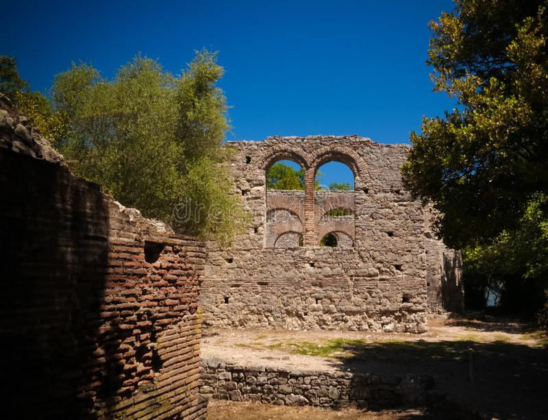 Panoramic view to ruins of The Basilica in Butrint ancient town , Sarande, Albania stock image