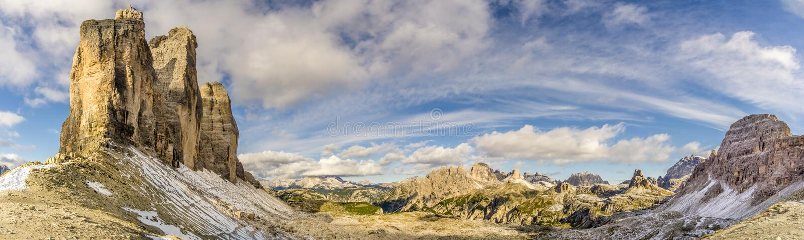 Panoramic view to the valley from Forcella Lavaredo near Tre Cime in Dolomites - Itaôy stock photos