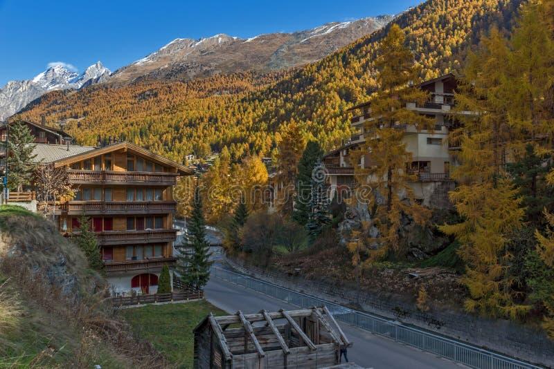 Panoramic view to Zermatt Resort, Switzerland royalty free stock photography