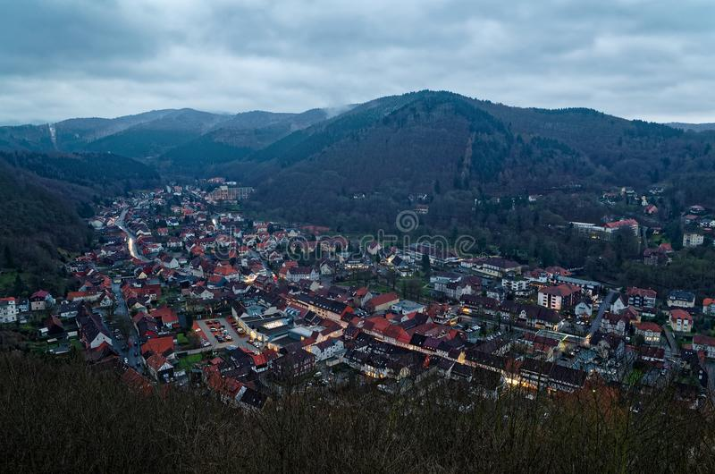 Panoramic view top down onto Bad Lauterberg in the evening, Harz, Germany. Panoramic view top down onto Bad Lauterberg in the evening, Harz mountains region royalty free stock image