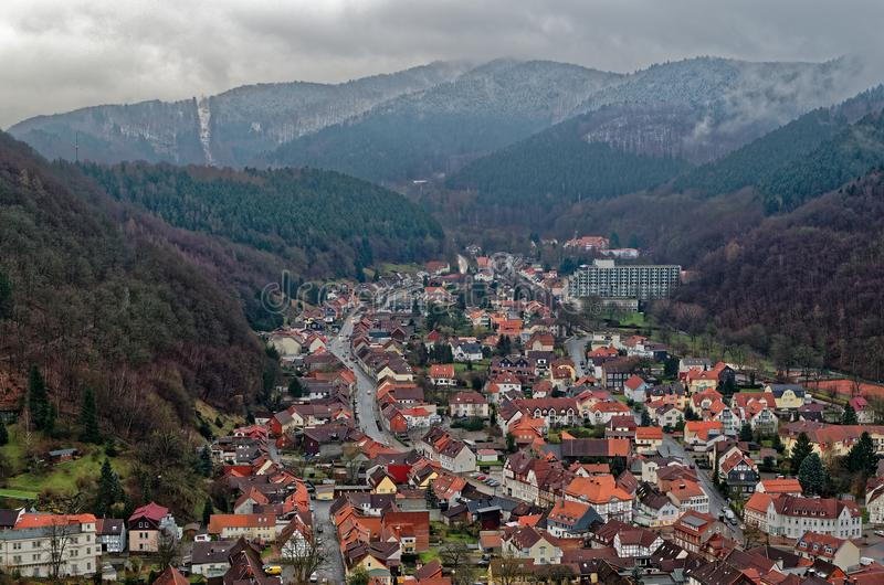 Panoramic view top down onto Bad Lauterberg in Harz, Germany. Panoramic view top down onto Bad Lauterberg in Harz mountains region, Germany stock photo